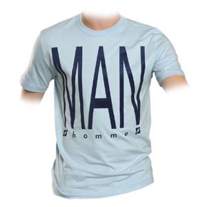 supa tshirt hellblau - THE MAN flockdruck - M (supasupa)