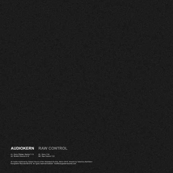 Audiokern - Raw Control (incl. Tobias. Remix) (Back)