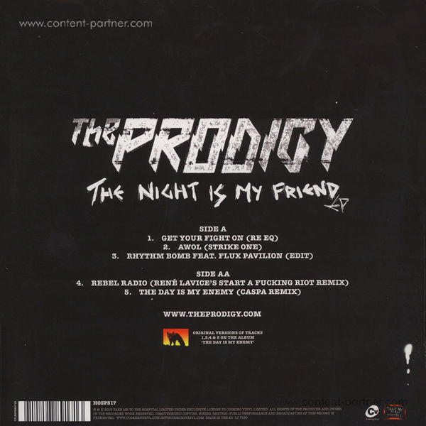 The Prodigy - The Night Is My Friend (Vinyl) (Back)