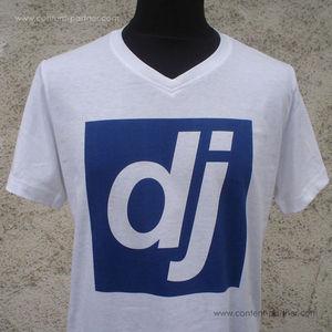 djshop t-shirt - blaues dj logo / größe S